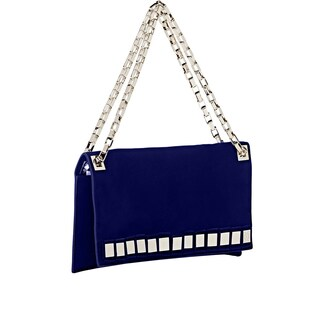 Tomasini Blue Suede Mirror Embellished Clutch