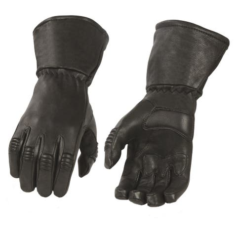 Men's Deerskin Leather Thermal Lined Gauntlet Gloves