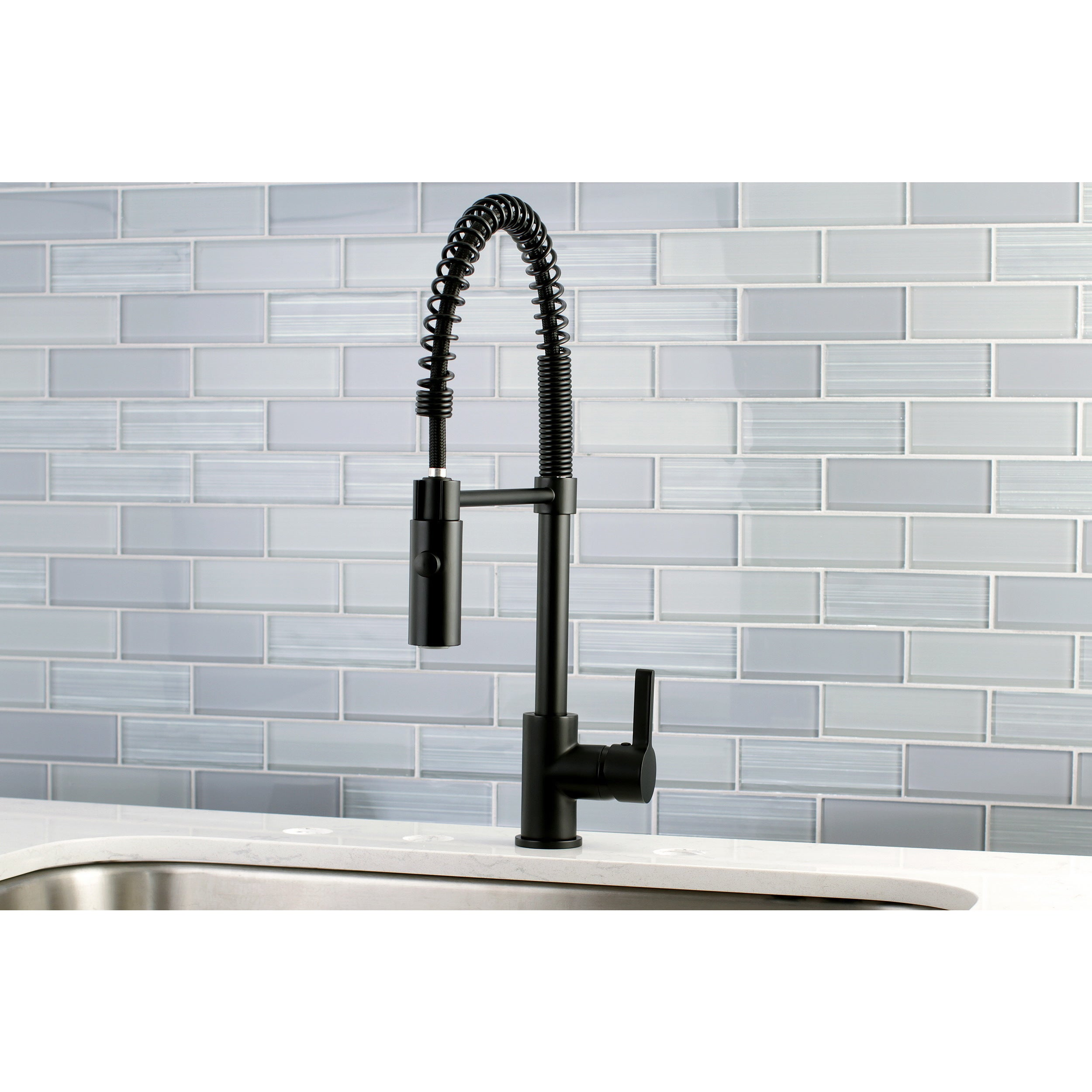 Black Modern Spiral Pulldown Kitchen Faucet