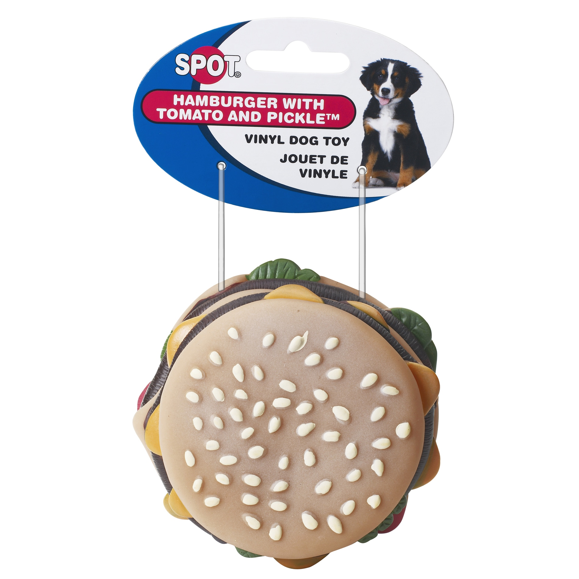 "Spot 3-1/2"" Vinyl Hamburger With Tomato & Pickle Dog Toy ..."