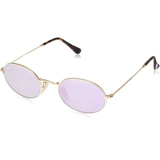 Ray-Ban Oval RB3547N 001/8O Unisex Gold Frame Lilac Mirror Lens Sunglasses