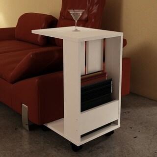 Sheldon White Wood Modern Minimalist Side Table (26 in.)