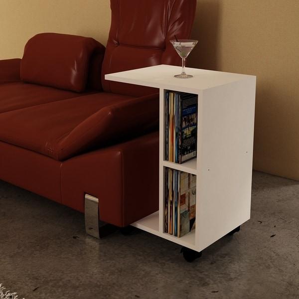 Shearer White Wood Modern Minimalist Side Table