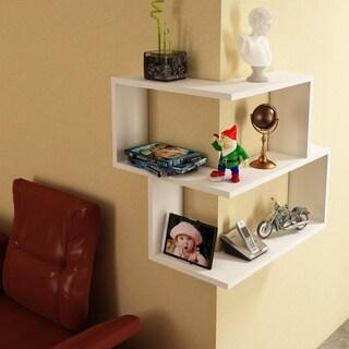 Wright White Wood 14-inch x 22-inch x 18-inch Modern Minimalist Corner Shelf