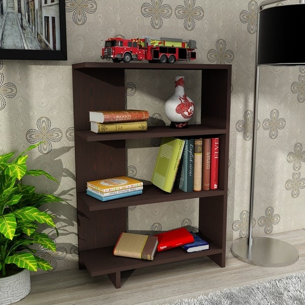 Bertau White Wood Modern Minimalist Bookcase