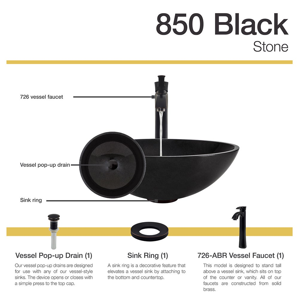850 Black Granite Vessel Sink With Faucet Sink
