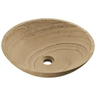 852 Wood Sandstone Vessel Sink with Faucet, Sink Ring, and Pop-Up Drain in Brushed Nickel