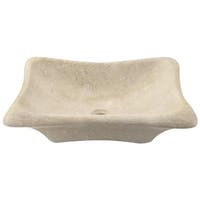 867 Galaga Beige Marble Sink with Faucet and Pop-Up Drain in Brushed Nickel