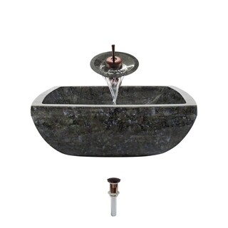 857 Butterfly Blue Granite Sink with Faucet and Pop-Up Drain in Oil Rubbed Bronze
