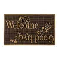 Storm Stopper Gold Painted Rubber Welcome & Goodbye Door Mat (18 x 30 in.)