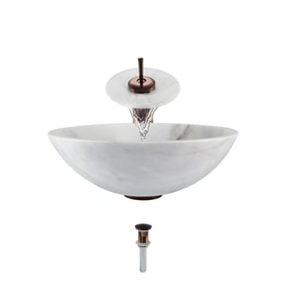 850-White Granite Vessel Sink with Faucet, Sink Ring, and Pop-Up Drain in Oil Rubbed Bronze