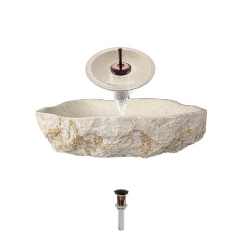 870 Galaga Beige Marble Sink with Faucet and Pop-Up Drain in Oil Rubbed Bronze