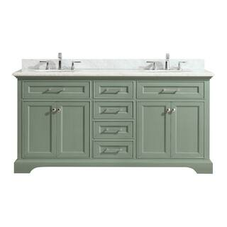 Azzuri Mercer Sea Green finish with Carrera White Marble Top 73-inch Double Sink Vanity|https://ak1.ostkcdn.com/images/products/15079507/P21569252.jpg?impolicy=medium