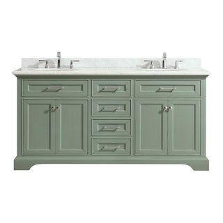 Azzuri Mercer Sea Green finish with Carrera White Marble Top 73-inch Double Sink Vanity