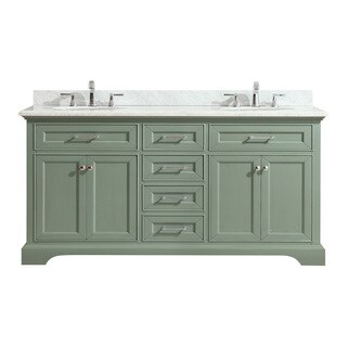 Azzuri by Avanity Mercer Sea Green finish with Carrera White Marble Top 73-inch Double Sink Vanity