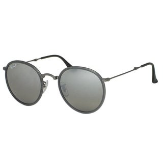 Ray-Ban Round Folding RB3517 029/N8 Unisex Gunmetal Frame Polarized Silver Gradient Lens Sunglasses
