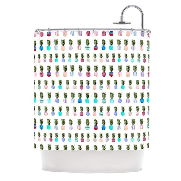 KESS InHouse Monika Strigel Pineapple People White Multicolor Shower Curtain (69x70)