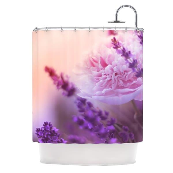 KESS InHouse Monika Strigel Peony and Lavender Pink Purple Shower Curtain (69x70)
