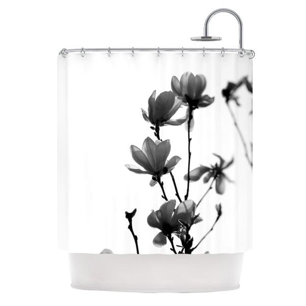 KESS InHouse Monika Strigel Mulan Magnolia White Gray Shower Curtain (69x70)