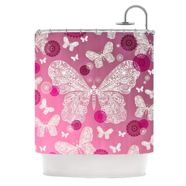 KESS InHouse Monika Strigel Butterfly Dreams Pink Ombre Magenta Shower Curtain (69x70)