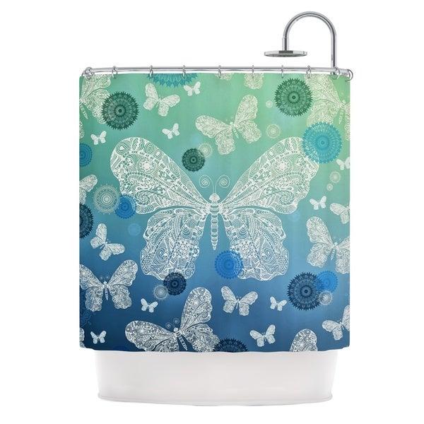 KESS InHouse Monika Strigel Butterfly Dreams Ocean Blue Green Shower Curtain (69x70)
