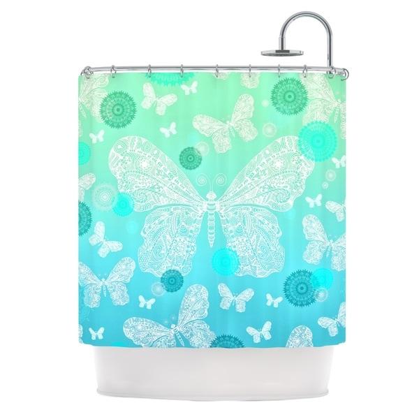 KESS InHouse Monika Strigel Butterfly Dreams Mint Aqua Teal Shower Curtain (69x70)