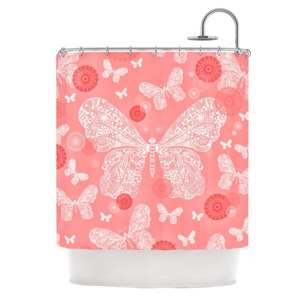 KESS InHouse Monika Strigel Butterfly Dreams Coral Pink White Shower Curtain (69x70)