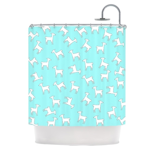 KESS InHouse Monika Strigel Baby Llama Multi Blue White Shower Curtain (69x70)