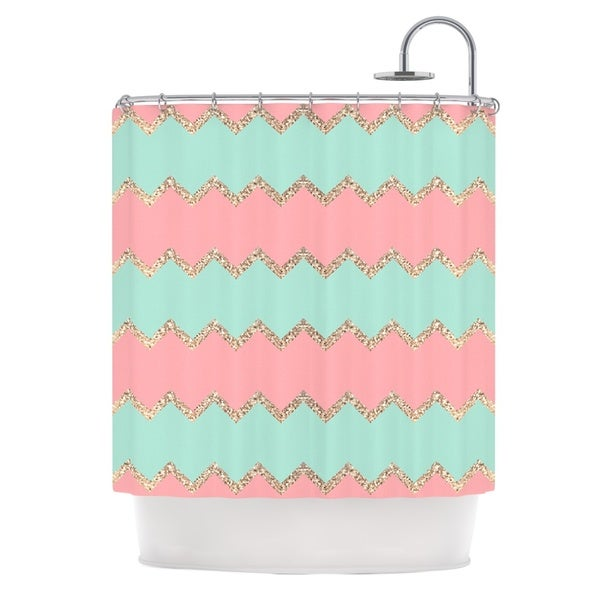 KESS InHouse Monika Strigel Avalon Soft Coral and Mint Chevron Orange Green Shower Curtain (69x70)