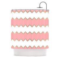 KESS InHouse Monika Strigel Avalon Coral Chevron White Blush Shower Curtain (69x70)