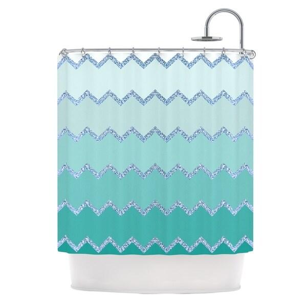 KESS InHouse Monika Strigel Avalon Mint Ombre Aqua Green Shower Curtain (69x70)