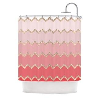 KESS InHouse Monika Strigel Avalon Coral Ombre Pink Chevron Shower Curtain (69x70)