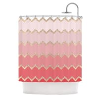 KESS InHouse Monika Strigel Avalon Coral Ombre Pink Chevron Shower Curtain (69x70)