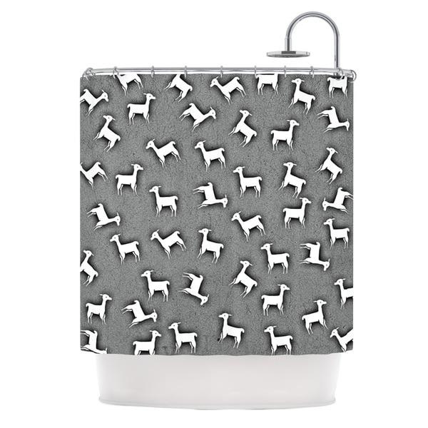 KESS InHouse Monika Strigel Llama Multi Gray Shower Curtain (69x70)