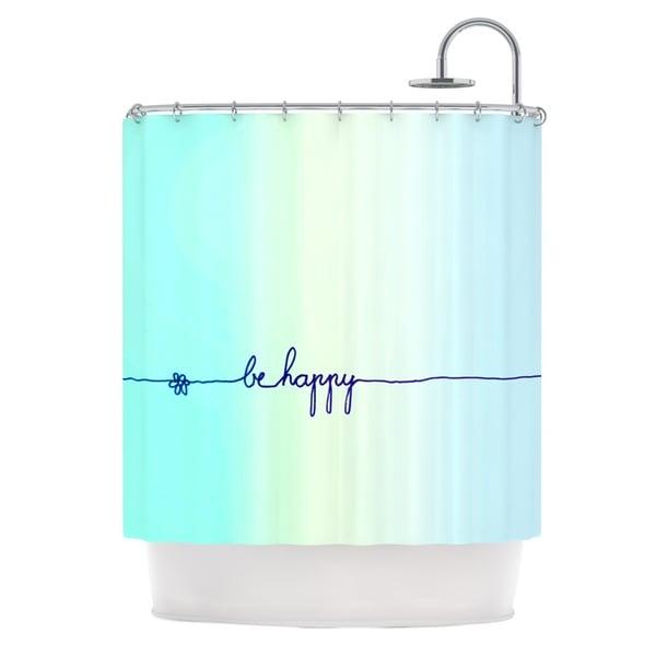 KESS InHouse Monika Strigel Be Happy Aqua Simple Blue Shower Curtain (69x70)