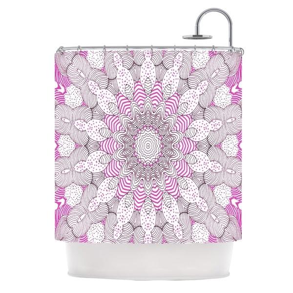 KESS InHouse Monika Strigel Dots and Stripes Pink Shower Curtain (69x70)
