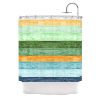 KESS InHouse Monika Strigel Beach Wood Blue Shower Curtain (69x70)
