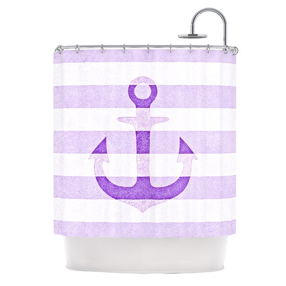 KESS InHouse Monika Strigel Stone Vintage Purple Anchor Shower Curtain (69x70)