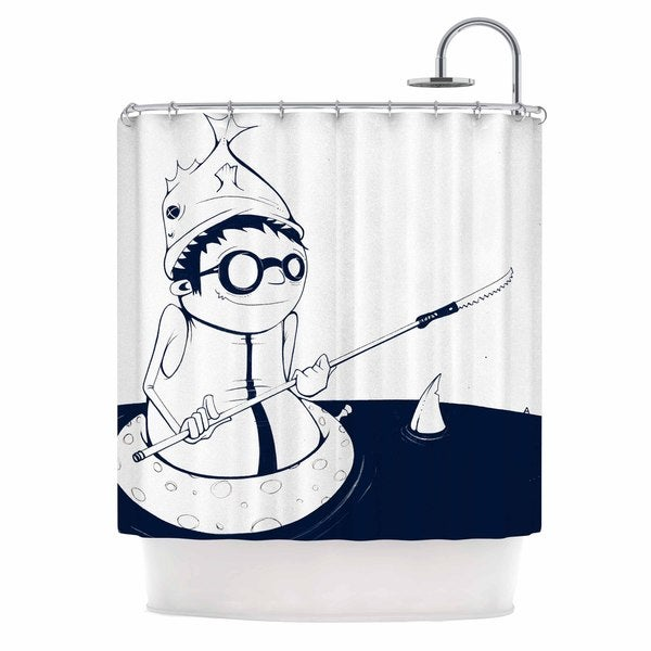 KESS InHouse Matthew Reid 5; In Navy Blue Nautical llustration Shower Curtain (69x70)
