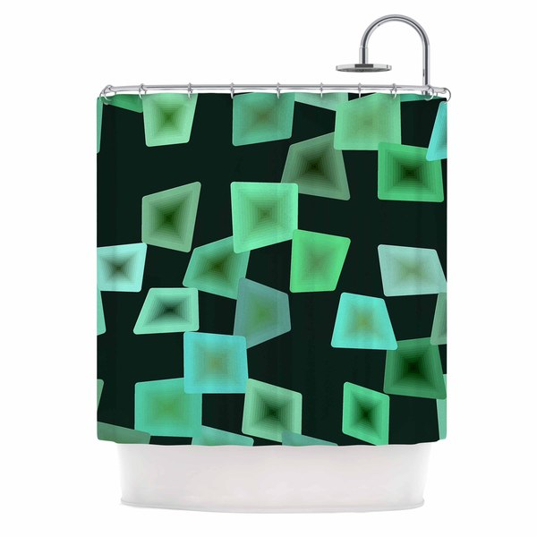 KESS InHouse No Seaglass On The Shore Green Digital Shower Curtain (69x70)