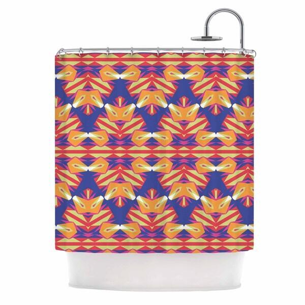KESS InHouse Miranda Mol Ethnic Border Indigo Orange Shower Curtain (69x70)