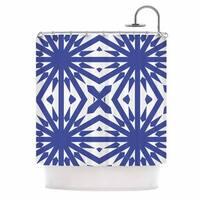 KESS InHouse Miranda Mol Delftsch Blue Tulips Floral Blue Shower Curtain (69x70) - 69 x 70