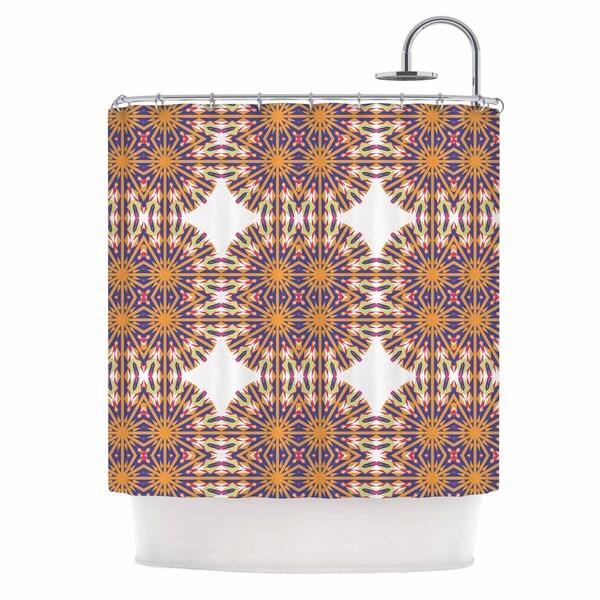 KESS InHouse Miranda Mol Ornamental Tiles Orange Blue Shower Curtain (69x70)