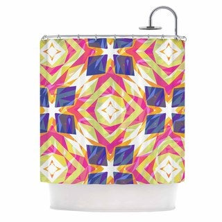 KESS InHouse Miranda Mol Dancing Tiles  Indigo Pink Shower Curtain (69x70)
