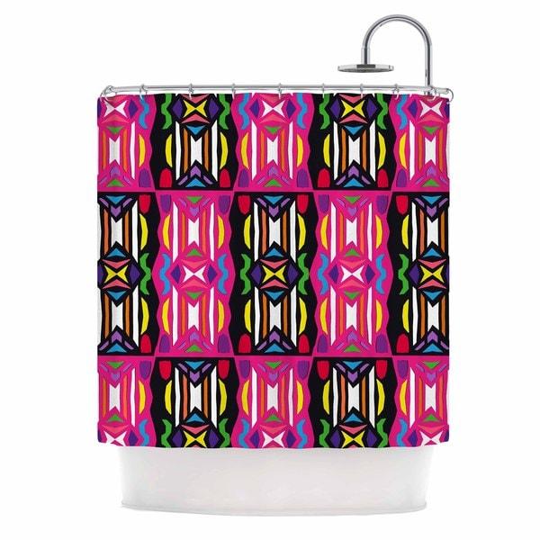 KESS InHouse Miranda Mol Lets Party Pink Black Shower Curtain (69x70)
