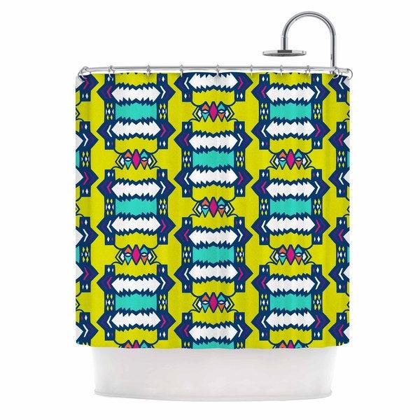 KESS InHouse Miranda Mol Party Vibes Yellow Teal Shower Curtain (69x70)
