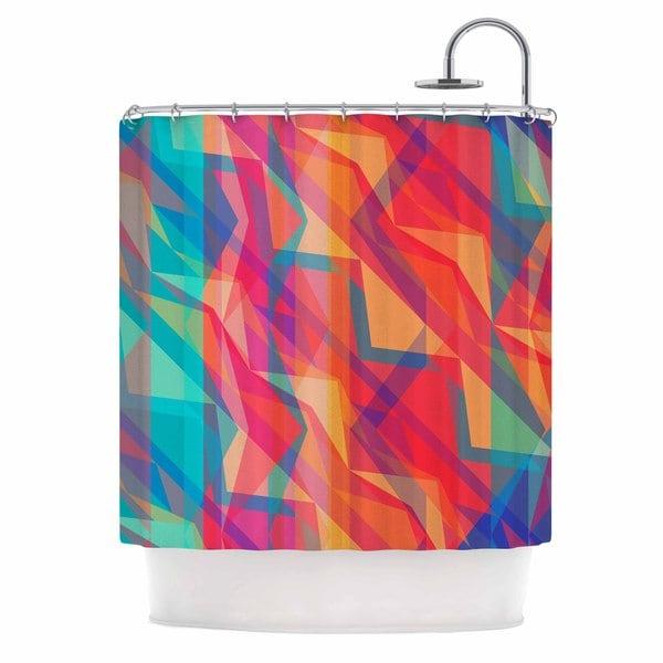 KESS InHouse Miranda Mol Triangle Opticals Pink Multicolor Shower Curtain (69x70)