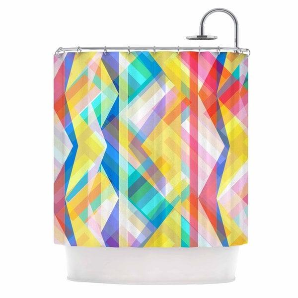 KESS InHouse Miranda Mol Triangle Rhythm Pastel Geometric Shower Curtain (69x70)
