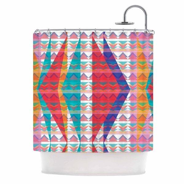 KESS InHouse Miranda Mol Triangle Illusion Multicolor Geometric Shower Curtain (69x70)