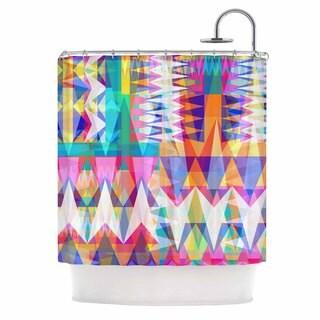 KESS InHouse Miranda Mol Triangle Collage Pastel Geometric Shower Curtain (69x70)